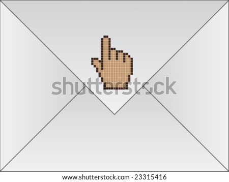 white envelope with cursor hand - stock vector