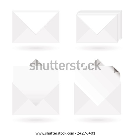 White envelopes with shadow with letter and page curl - stock vector
