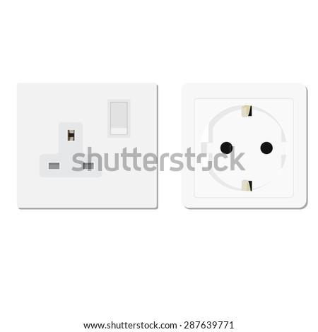 White european and uk socket vector illustration. Electric socket. Electricity symbols - stock vector
