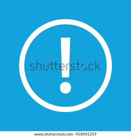 White exclamation mark icon vector. Blue background