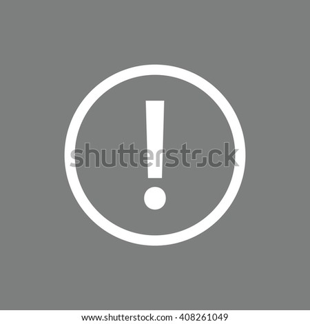 White exclamation mark vector sign. Gray background - stock vector