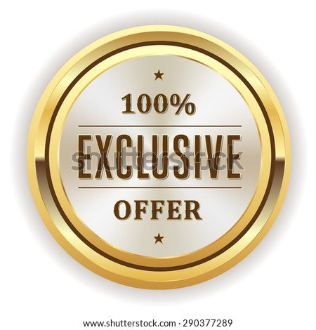 White exclusive offer seal with gold border on white background - stock vector