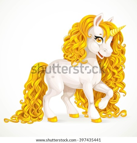 White fabulous unicorn with golden mane