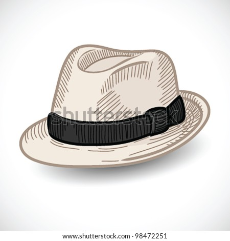 White fedora hat isolated- vector illustration Shadow and background on separate layers. Easy editing.