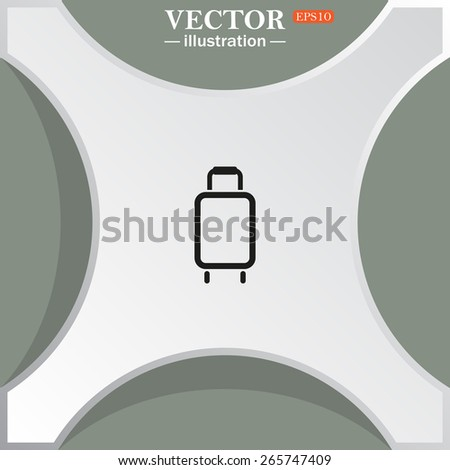 White figure on a green background with shadow. Bridge.  Baggage icon. Vector illustration, EPS 10 - stock vector