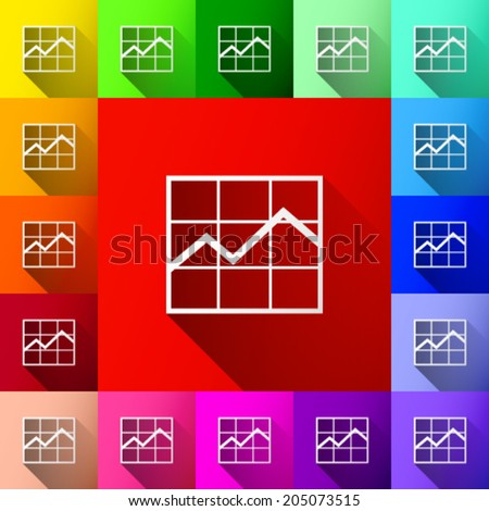white financial graph icon with shadow icon on colorful background set (vector)