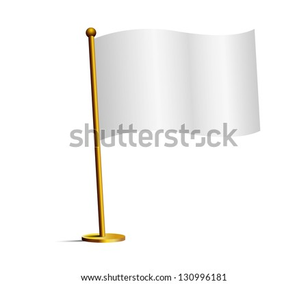 white flag isolated - stock vector