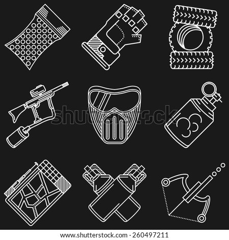 White flat line icons vector collection of paintball equipment and accessory on black background. - stock vector