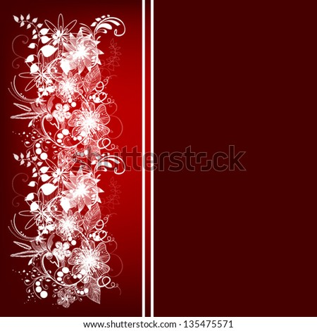 white floral abstraction on a red background