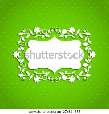 White floral frame on a green background. Vector illustration. Eps10 - stock vector