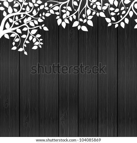 White floral on wood background, vector illustrashion