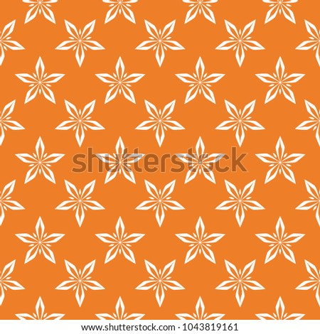 White floral ornament on orange background. Seamless pattern for textile and wallpapers