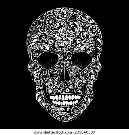 White floral pattern in the shape of human skull on black background. - stock vector