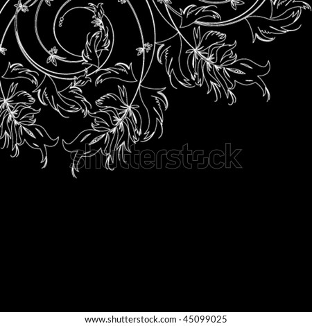White floral sketch on a black background - stock vector