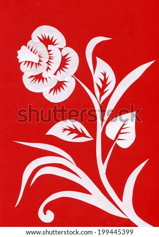 White flower pattern on a red background vector  - stock vector