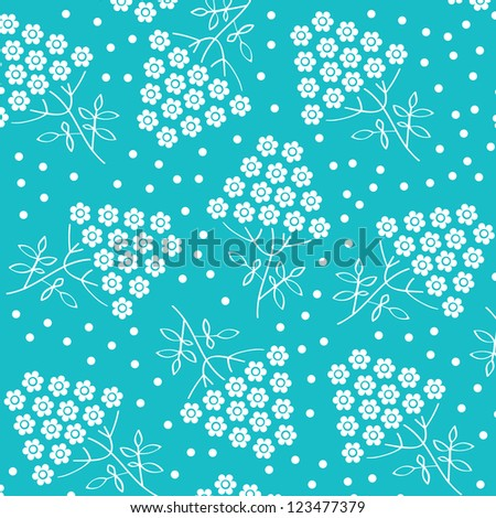 White flower pattern on blue background. Vector art./ Blue wallpaper