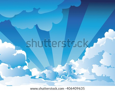 White fluffy clouds on bright blue sky background.