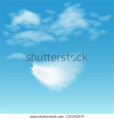 white fluffy feather on background of blue sky - stock vector