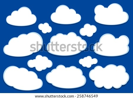 White fluffy vector clouds isolated over blue background - stock vector