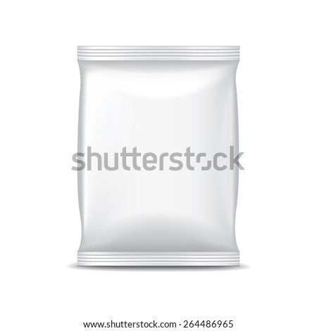 White foil packaging for food isolated on white photo-realistic vector illustration - stock vector