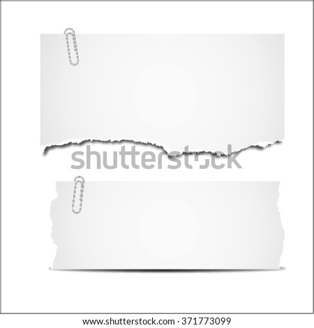 White folded paper, grungy old paper, ragged sheets of paper. vector illustration. isolated on white background - stock vector