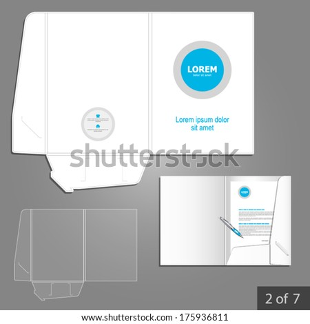 White folder template design for company with blue circle. Element of stationery.