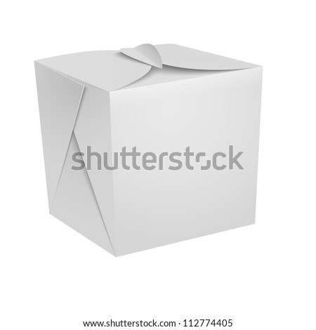 White Food box,  fast food, Chinese food, candies box - stock vector