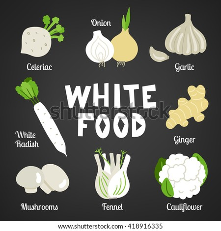 White food collection on dark background. Vegetables. Celeriac, onion, garlic, white radish, ginger, mushroom, fennel, cauliflower. Perfect as icons, package design. Vector illustration - stock vector