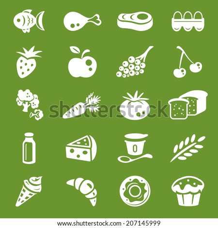 white food icons set