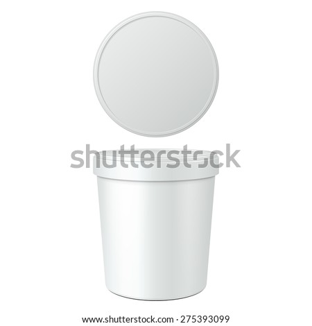 White Food Plastic Tub Bucket Container For Dessert, Yogurt, Ice Cream, Sour Cream Or Snack. Mock Up Template Ready For Your Design. Product Packing Vector EPS10 - stock vector