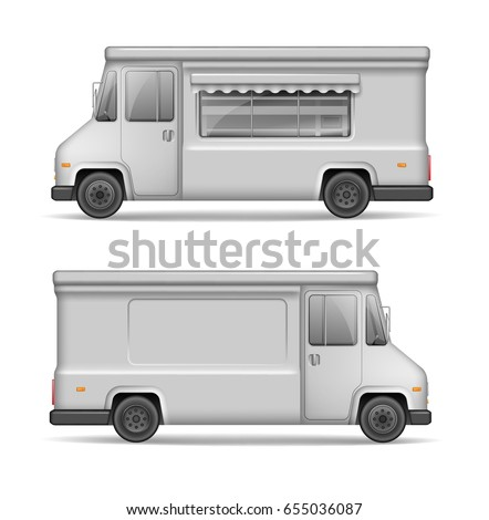 white food truck template mock side stock vector royalty free