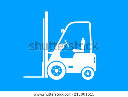 White forklift truck on blue background   - stock vector