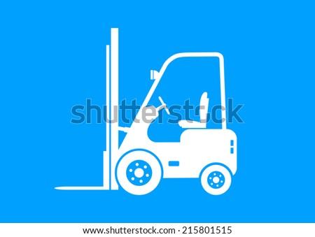 White forklift truck on blue background   - stock vector