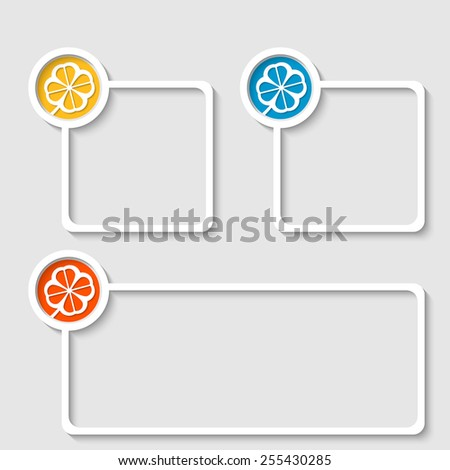 white frame for any text with cloverleaf - stock vector