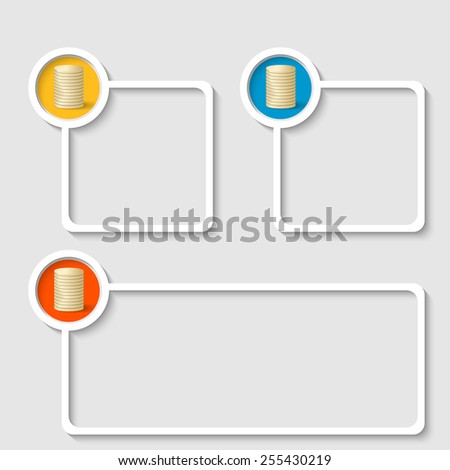 white frame for any text with coin - stock vector
