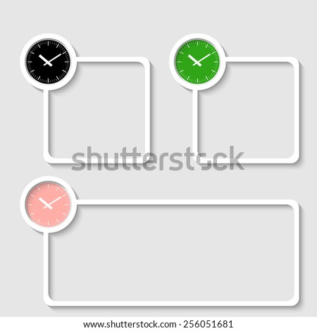 white frame for any text with watches - stock vector