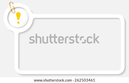 white frame for text and yellow exclamation mark mark - stock vector