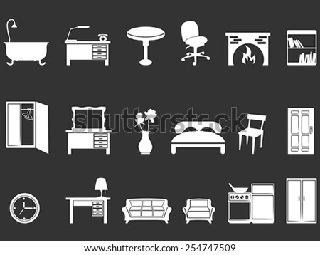 white furniture silhouettes - stock vector