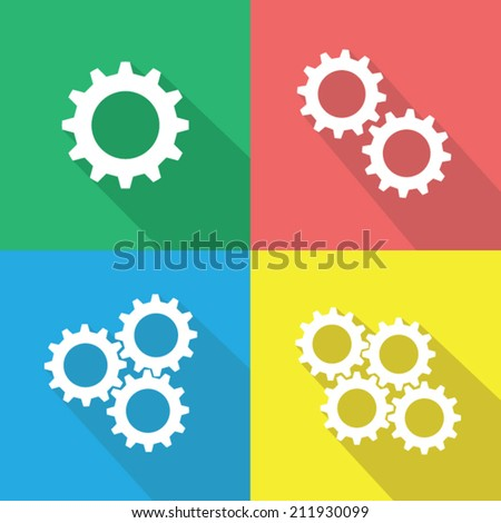 White gear or cog icon with long shadow, flat design vector illustration. - stock vector