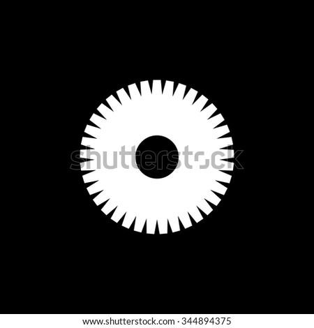 White gear wheel, black background. Illustration  - stock vector