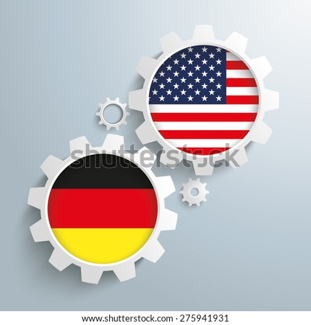 White gears with german and US-Flag. Eps 10 vector file.
