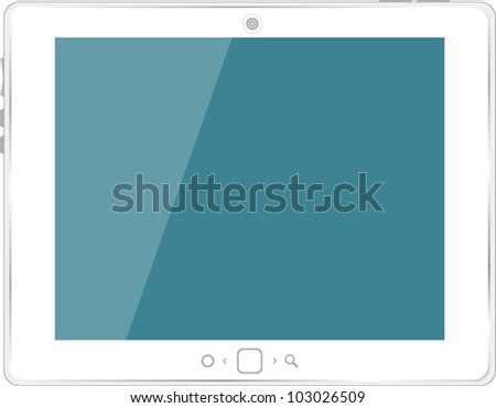 White generic tablet pc on white background - stock vector