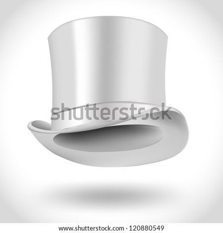 white gentleman hat - stock vector