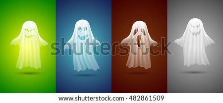 white ghosts for Halloween on different background.cute ghosts characters.vector illustration eps 10