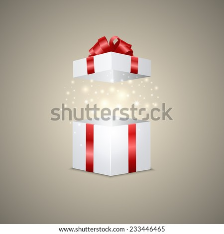 White gift box with a magic effect. Vector illustration. - stock vector