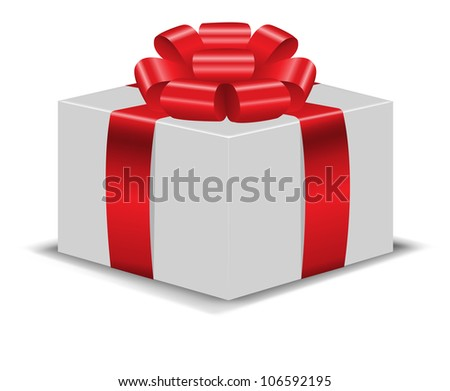 white gift box with a shiny red bow on white background