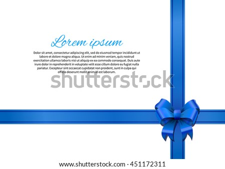 White gift card with blue bow and ribbon - stock vector