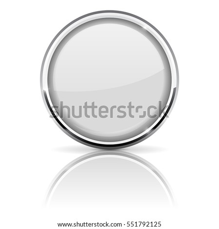White glass button with chrome frame. Vector 3d illustration isolated on white background.