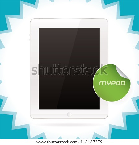 White Glossy Tablet Pad, Ipade, Ipode, Iphon style gadget Illustration, Icons, Sign, With Sticker - stock vector