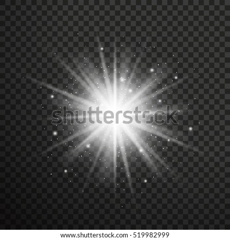 White glowing light burst explosion with transparent. Vector illustration for effect decoration with ray sparkles.